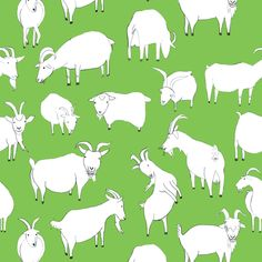 Green Goats Playing fabric by crumpetsandcrabsticks on Spoonflower - custom fabric