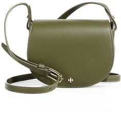 Tory Burch Mini Leather Saddle Bag ($265) ❤ liked on Polyvore featuring bags, handbags, shoulder bags, apparel & accessories, green olive, genuine leather handbags, olive green handbag, tory burch handbags, leather handbags and saddle bags
