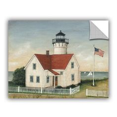 """ArtWall David Carter Brown Lighthouse Keepers House Wall Decal Size: 8"""" H x 10"""" W x 0.1"""" D"""