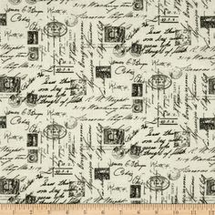 Letters from Paris Script Cream from @fabricdotcom  Designed for Timesless Treasures Fabrics, this cotton fabric is perfect for quilting, apparel and home decor accents.Colors include cream, black, grey and brown.