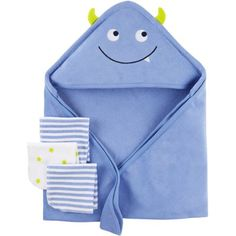 This Child Of Mine coordinating set is a bath time essential! With 5 soft, terry washcloths & a fun character hooded towel, bath time has never been so fun.