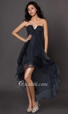 Fluente Vestito da Cerimonia Senza Spalla High-Low Bianco ACM032 [ACM032] - €110.00 :