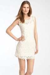Bcbgmaxazria Crochet Lace Dress in Beige (gardenia) - Lyst