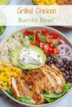 This Easy Chicken Burrito Bowl recipe is loaded with juicy grilled chicken, corn, beans, and other fun toppings. They are healthy, easy to make, filling and better than Chicken Burritos from chipotle. #chickenburrito #burrito #burritobowl #chickenrecipe #mexican via @healthyfitnessmeals Grilled Meat, Grilled Chicken, Easy Chicken Burrito Bowl Recipe, Pasta Recipes, Chicken Recipes, Vegetarian Recipes, Healthy Recipes, Healthy Foods, Chicken Burritos