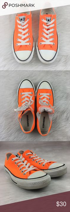 Converse Neon Orange Converse neon orange. Size 7 in women's. EUC without box. Only worn several times.❌No trades ❌ Modeling ❌No PayPal or off Posh transactions ❤️ I Bundles ❤️Reasonable Offers PLEASE ❤️ Bundle & SAVE❗️❗️ Converse Shoes Sneakers