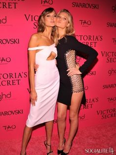 NEW YORK, NY - NOVEMBER 13: Models Karlie Kloss (L) and Toni Garrn attend the 2013 Victoria's Secret Fashion Show at TAO Downtown on Novembe...
