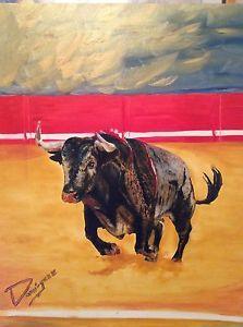 Pintura al óleo sobre lienzo Toro OLEO BULL PAINT Cuadro   eBay