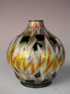 (CAMILLE FAURE:FRENCH 1874-1956)~A very large enameled vase~Geometric pattern in~Gold~Black~Gray and White enamels