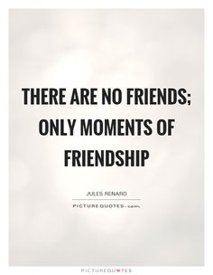 There are no friends; only moments of friendship. Picture Quotes.