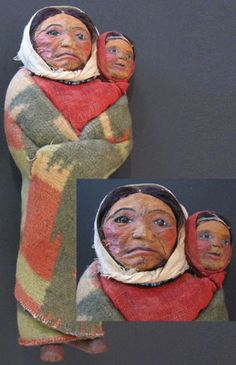Cheyenne Corn Husk Dolls   Mary Francis Woods Doll 1930's Mother and Child.