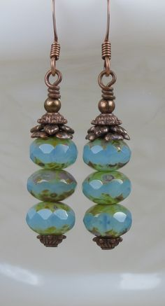 Turquoise Blue Czech Glass Beads with Picasso finish Dangle Earrings. Buy your pair today. Perfect Gift For Her.