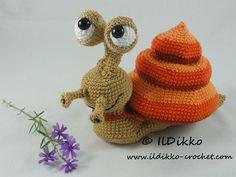 Amigurumi Crochet Pattern - Sydney the Snail Slak kan helemaal in zijn huisje
