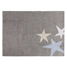 Lorena Canals Three Stars Grey Washable Children's Rug – Machine Washable, Perfect for the Nursery – Handmade from 100% Natural Cotton and Non-Toxic Dyes
