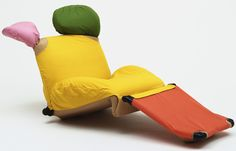 "Wink Lounge Chair (model 111.01)  Toshiyuki Kita (Japanese, born 1942)    1980. Polyurethane foam, steel, and Dacron, (upright): 40 5/8 x 33 x 31 5/8"" (103.2 x 83.8 x 80.3 cm, seat h. 14 3/4"" (37.5 cm); (reclining): 24 3/8 x 33 x 75 3/4"" (61.9 x 83.8 x 192.4 cm). Manufactured by Cassina, S.p.A., Milan. Gift of Atelier International Ltd."