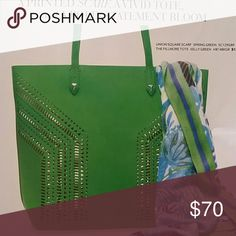 Stella and Dot Fillmore Tote Green leather tote Stella & Dot Bags Satchels