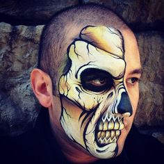 Yellow Skull by RonnieMena on DeviantArt Skeleton Face Paint, Skull Face Paint, Face Paint Makeup, Skull Painting, Face Painting Designs, Body Painting, Skeleton Makeup, Monster Face Painting, Face Painting For Boys