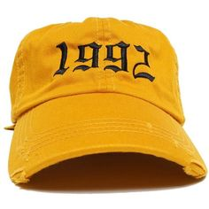 1992 Vintage Dad Hat ($32) ❤ liked on Polyvore featuring accessories, hats, brass hat, vintage caps, distressed hat, 6 panel cap and stitch hat