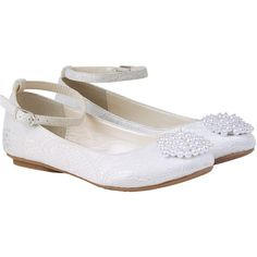 Monsoon Pretty Pearl Pom Pom Ballerina ($40) ❤ liked on Polyvore featuring shoes, flats, ankle tie flats, embellished flats, ballet shoes, ankle strap ballet flats and special occasion shoes