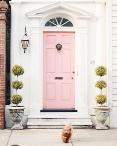 Com design living room, millenial pink, front door colors, fron Door Design, House Design, Millenial Pink, Design Living Room, Exterior Front Doors, Patio Doors, Exterior Paint, The Doors, Tuscan Decorating