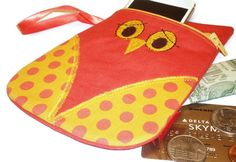 Orange owl pouch Owl shaped phone case owl coin by ItsSewYouDear, $15.00