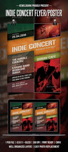 Indie Concert Flyer / Poster #alternative #orange  • Download here → https://graphicriver.net/item/indie-concert-flyer-poster/21279445?ref=pxcr