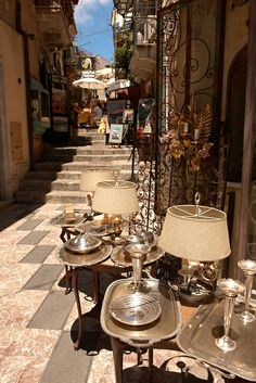 Antique shops in the main street Taormina, Sicily, Italy