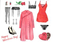 Valentine's Day hand drawn watercolor set by RobertaTomei on Etsy