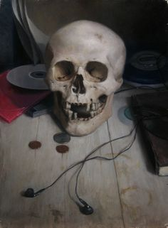 Still Life With Skull and CD Player by Carl Dobsky