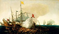 En esta pintura podemos apreciar a galeones españoles contra corsarios berberiscos en una lucha a muerte típica de la época.