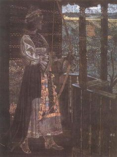 Sándor Nagy    Gyöngyvér    1909  Pastel on paper, 54 x 41cm  Hungarian National Gallery, Budapest.  This painting is an example of the association of Transylvanian fol art with the Hun-Magyar cycle of legends. It depicts the wife of Buda, Attila's brother, in Transylvanian costume.