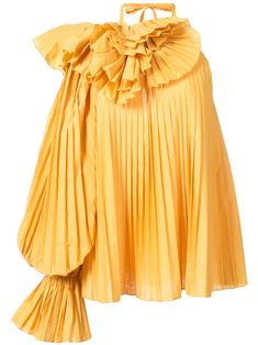 Yellow cotton pleated one shoulder blouse from Rosie Assoulin featuring a ruffled neck, a back tie fastening, long sleeves and a loose fit. Yellow Long Sleeve Tops, Ruffle Neck Blouse, Off One Shoulder Tops, Yellow Blouse, Yellow Top, Loose Fitting Tops, Loose Tops, Crop Tops, Tank Tops