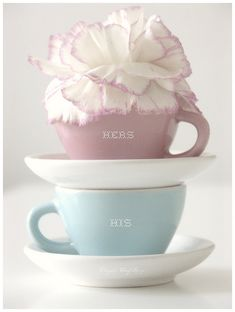 His and Hers Pastel Tea Cups Soft Colors, Pastel Colors, Pastels, Retro Colours, Pastel Palette, Coffee Cups, Tea Cups, My Cup Of Tea, Pretty Pastel