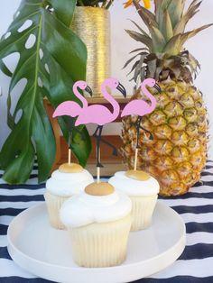 Flamingo Cupcake Toppers set of 12 - Pool Party Flamingo Birthday Decorations - Pink Flamingos Bridal Shower Beach Food Picks - Flamingle