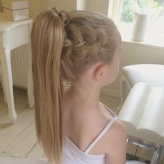 Textured Dutch Braid into a Ponytail  I saw a picture on @molliebanks5_braids Facebook page and had a go on Abby  #sweetheartshairdesign #dutchbraid #trenza #tresse #braids #kidshair