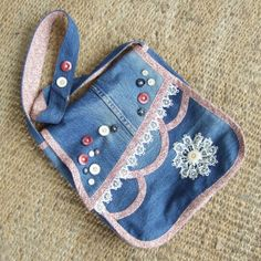 Items similar to Blue denim Bag with red and cream floral pattern cotton trims and lining, buttons and vintage lace decoration. Denim Crafts, Jean Crafts, Denim And Lace, Blue Denim, Denim Bag Patterns, Recycle Jeans, Repurpose, Lace Decor, One Bag
