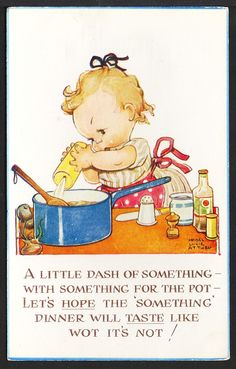 Signed Mabel Lucie Attwell Valentine's 1946 Postcard #1001 Little Girl Cooking