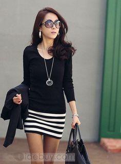 Carefree Coréen Style Slim Manche Longue  Robe