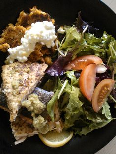 Slow carb, 4 hour body meal: Mustard-rubbed, roasted salmon; black bean & carrot cakes with non-fat cottage cheese; salad greens w/ lemon vinaigrette.