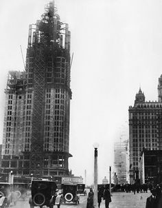 The Tribune Tower under construction, Michigan Ave, 1924, Chicago.