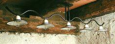 2012 PLAFONIERA IN METALLO E PIATTI IN CERAMICALampade rustiche a soffitto