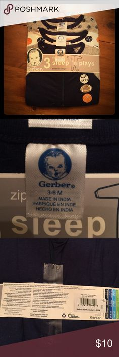 NWT sleeper pj set of 3 Brand new with tags and in packaging for boys age 3-6months by Gerber brand. We literally just did not get around to wearing these 🙄 sports theme. Bundle for savings Gerber Pajamas Pajama Sets