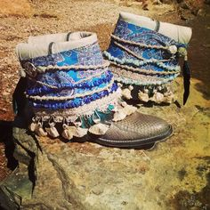 Upcycled Vintage Cowboy Boho Boots-Mermaid by kdenee on Etsy