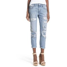 Lovers + Friends 'Ezra' Destroyed Slim Boyfriend Jeans (785 RON) ❤ liked on Polyvore featuring jeans, ceres, ripped jeans, relaxed boyfriend jeans, white distressed boyfriend jeans, light wash boyfriend jeans and white destroyed boyfriend jeans