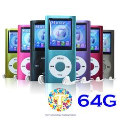 """Thor 64 GB Slim 1.8"""" LCD Mp3 Mp4 Player Media/Music/Audio Player with accesso... #Thorcoltd"""