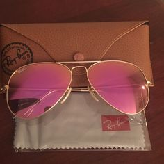 Ray Ban | Large Aviator 58mm Beautiful shade I would describe as fuschia. Comes with case, box and cleaning wipe. Ray-Ban Accessories Sunglasses