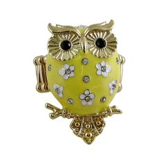 Owl Ring Stretch Band Yellow Jeweled $9