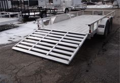 Open Aluminum 7' x 16' Utility Trailer By ATC With A Bi-Fold Ramp. This Is an Outstanding All Aluminum Utility Trailer with a Removable Bi-Fold Rear Ramp. $4,595 Any applicable fees and taxes are extra. Ref # GE203002 | Advantage Trailers and Hitches