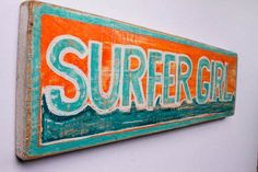 Custom Surfer Girl Beach Sign with Original Wave Design Personalized on Reclaimed Distressed Wood Coastal Surf Nursery Kids Room Decor. $45.00, via Etsy.