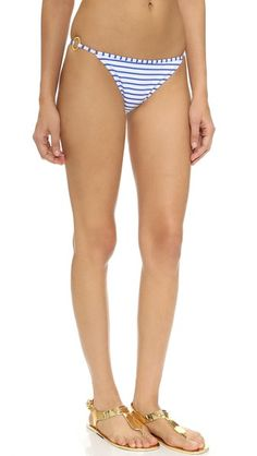 Multicolored Moschino  swimsuit  for woman Moschino bikini bottoms in mismatched, two tone stripes. Metallic rings at sides. Lined. 80% nylon/20% elastane. Hand wash. Imported, Romania. Size & Fit. Available sizes: 1 #trisuit