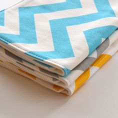 Set of 3 Gender Neutral Burp Cloths . Yellow, Aqua and Gray Chevron . Baby Shower Gifts, Baby Gifts, October Baby Showers, Eco Baby, Burp Cloth Set, Gender Neutral Baby Shower, Baby Accessories, Baby Love, Lillian Rose